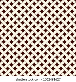 Abstract braiding background. Seamless surface pattern with repeated diagonal weave rectangular tiles. Wicker wallpaper. Classic geometric ornament. Modern checkered digital paper. Vector art