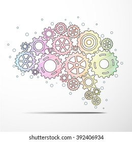Abstract brain gear colorful background