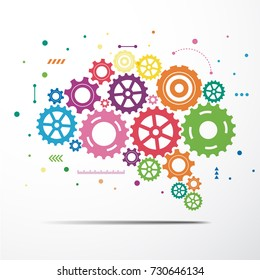 Abstract brain gear colorful. Vector illustration