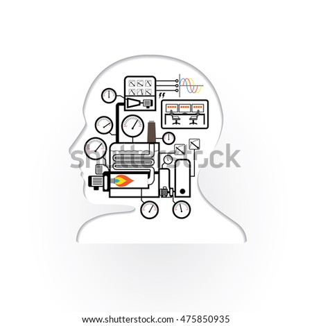 Abstract Brain Human Simple Boiler System Stock Vector (Royalty Free ...