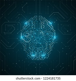 Abstract brain illustration. Futuristic network graphic concept. Artificial intelligence technology advancement