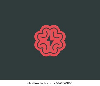 Abstract brain logo design template. Brainstorm vector sign. Education medicine smart logotype.