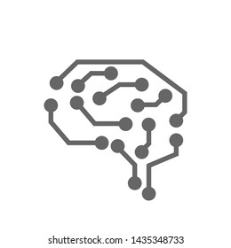 Abstract brain on white background, AI (artificial intelligence) concept machine learning, nanotechnologies and modern technologies concepts, smart city and global network technology