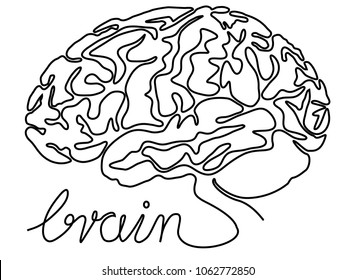 Abstract brain one line drawing