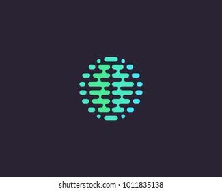 Abstract brain planet logotype. Color globe idea vector logo icon.