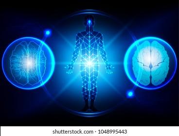 abstract brain technological , science interface, digital blueprint of human,illustration vector design