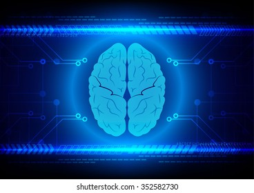 Abstract brain Technology with circuit and arrow background vector illustration