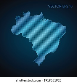 Abstract Brazil map template made from blue diagonal lines on dark background. Vector illustration EPS10.