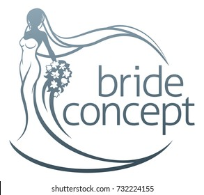 Abstract bride in silhouette wedding design concept, in white bridal dress gown holding a floral bouquet of flowers