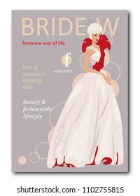 Abstract bride woman with floral with silhouette. Fashion magazine cover design for the summer holiday season. Vector illustration
