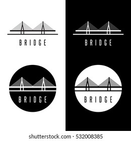 abstract bridge construction set vector design template