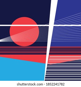 Abstract bright background with geometric objects. Example of a geometry design for a website or product ad.
