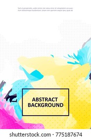 Abstract bright color painting background for flyer, placards . Poster template with watercolor paint splash. Colorful cover for book, booklet. Vector