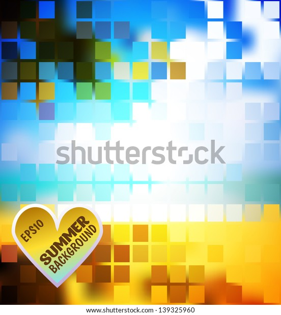 Abstract bright colored summer background mosaic for design