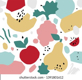 Abstract bright colorful background with fruits in paper cut style. Hand drawn exotic fruit and shapes. Vector print design for packaging design, brand design, poster, card