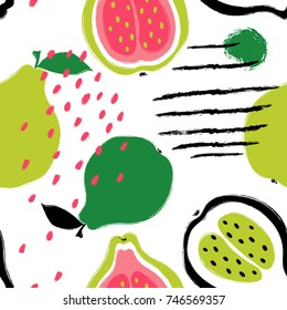 Abstract bright colorful guava seamless pattern. Hand drawn brush grunge exotic fruit background.