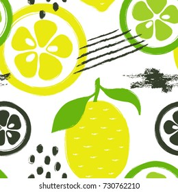 Abstract bright colorful lemon and lime seamless pattern. Hand drawn brush grunge citrus fruit background.