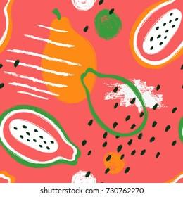 Abstract bright colorful papaya seamless pattern. Hand drawn brush grunge exotic fruit background.