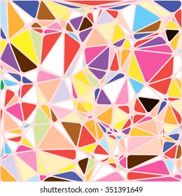 Abstract bright colorful random triangle geometric background, Vector Illustration pattern. Geometric design for business, wallpaper, spring autumn backdrop. Color kaleidoscope: blue, yellow, orange.