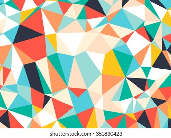 Abstract bright colorful random triangle geometric background, Vector Illustration pattern. Geometric design for business, wallpaper, spring autumn backdrop. Color kaleidoscope: green, yellow, orange.