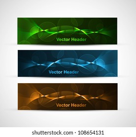 abstract bright colorful website header set vector illustration