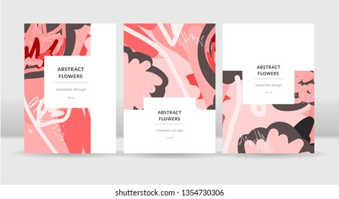 Abstract bright flowers poster template