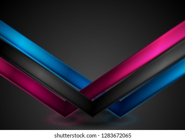Abstract bright glossy neon arrows on black background. Vector illustration