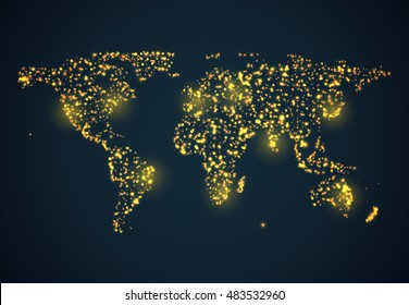 Abstract bright glowing map on dark blue background. Vector illustration