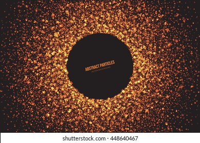 Abstract bright golden shimmer glowing square particles vector background. Scatter shine tinsel light explosion effect. Burning sparks wallpaper. Celebration, holidays and party illustration