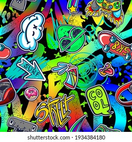 Abstract bright graffiti and monsters pattern. With bricks, paint drips, words in graffiti style. Graphic urban design for textiles, sportswear, prints.