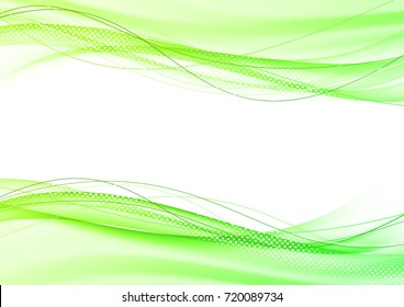Abstract bright modern green elegant graphic swoosh speed wave background. Vector illustration