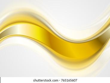 Abstract bright orange golden wave on white background. Vector design