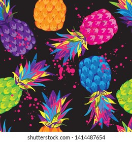 Abstract Bright   Pineapple fruit in seamless pattern  in Vector. Tropical exotic summer pattern with funny hand drawn pineapples. print for T-shirts, textiles, wrapping paper, web.