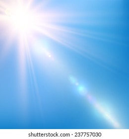 Abstract bright shining sun with lens flare in a blue sky. Vector illustration