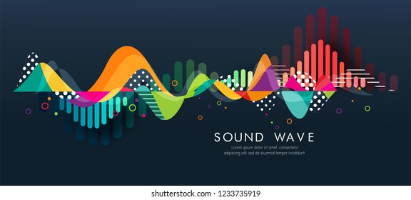 Abstract bright wave isolated on blue background. Vector illustration for music wave design.Cool curl wave header element. Modern bright color.