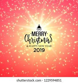 Abstract bright winter holiday Christmas greeting card