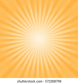 Abstract bright Yellow Orange rays background. Vector