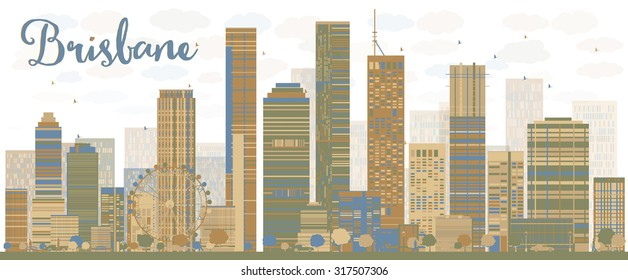 Abstract Brisbane skyline with color buildings. Vector illustration. Business travel and tourism concept with modern buildings. Image for presentation, banner, placard and web site.