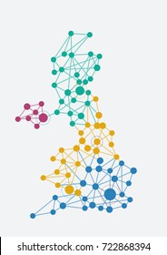 Abstract british network with map and link