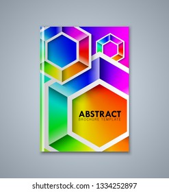 Abstract brochure or book cover template with hexagonal shapes in bright rainbow colors on grey background