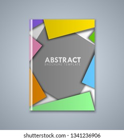 Abstract brochure or book cover template on grey background