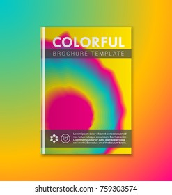 Abstract brochure or book cover template with bright rainbow colors on colorful background