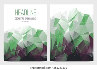 Abstract brochure and flyer covers in polygonal style