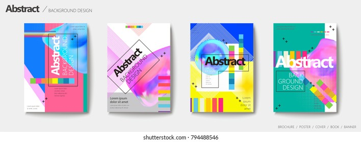 Abstract brochure set, colorful fluid liquid with geometric elements design