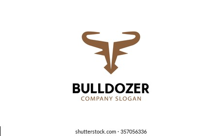 Abstract Brown Bull  Logo Head Symbol Design