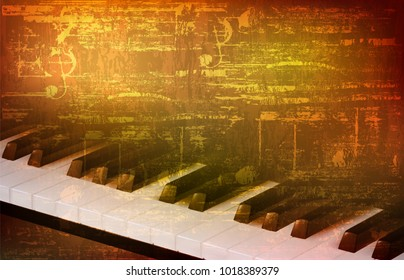 abstract brown grunge vintage sound background with piano keys vector illustration