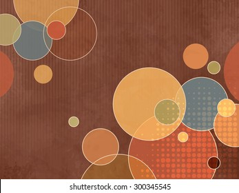 Abstract brown retro background pattern with colorful circles and dots