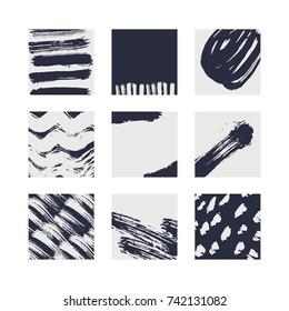 Abstract brush cards set