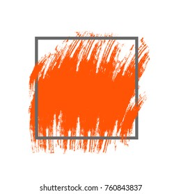 Abstract brush sroke orange texture and gray geometric frame. Isolated strokes with dry rough edges. Flat design. Vector illustration EPS10.