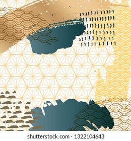 Abstract brush stoke background with Japanese pattern vector. Gold and green template. Geometric elements.